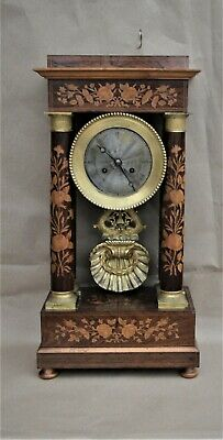 Antique Marquetry Rosewood  Inlay Portico Clock With Silver and Ormolu dial