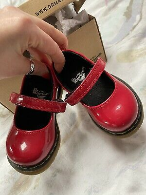 Dr Marten Doc Martens Baby Girl Red Patent Dolly Shoes Size 3 Perfect Condition