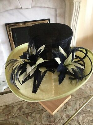Stunning Large Hat With Feathers Pale Green Navy Jacques Vert