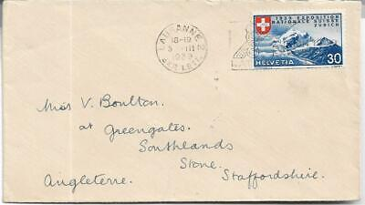 Switzerland 1939 NATIONAL EXHIBITION 30c BLUE FROM LAUSANNE TO GB REF 2826