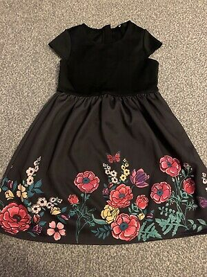 Girls Black Floral Dress Aged 9 Years
