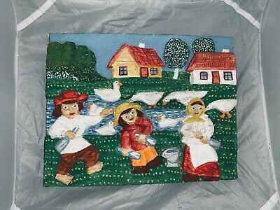 polished wooden carved countryside family