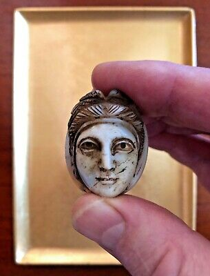 Very Large Ancient Carved Sardonx Cameo of a Classic Greek Woman Goddess