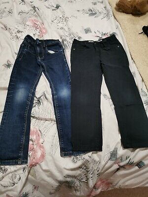 Boys Clothes 2 X Jeans Blue Denim Age 7 Next Black Primark 7-8 Years Skinny