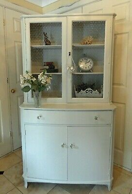Pale Grey Painted Srongbow Display Cabinet with Country Farmhouse mesh doors