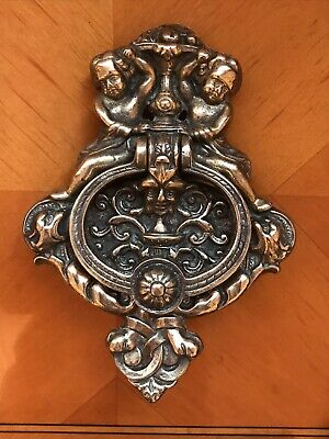 Antique/Vintage Large solid brass door knocker  Cherubs + Bacchus heavy cast