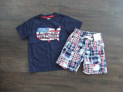 GYMBOREE STAR SPANGLED SUMMER WHITE w// RED N BLUE BOW WOVEN TOP 4 6 7 NWT