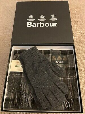 Barbour Scarf and Glove Set, Black / Grey Tartan, New With Box RRP £50