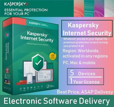 Kaspersky Internet Security 2020 5 Devices 1 Years Multi-device Global Download