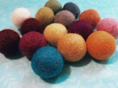 10 Large Bubblegum Beads Felted Wool Round Big Set Assorted Lot Mix 20mm