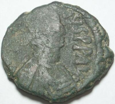 518-527 AD Late ROMAN or BYZANTINE EMPIRE Bronze HALF FOLLIS of EMPEROR JUSTIN I