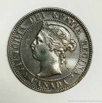 1897 Canada 1 One Cent Bronze Coin About Uncirculated Details