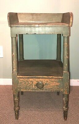 Antique Country Sheraton Washstand in old Green Paint