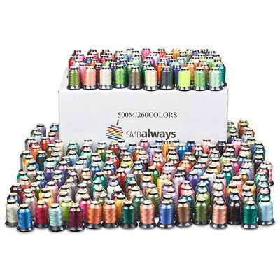 Polyester Embroidery Machine Thread Set - 500m each, 260 Spools