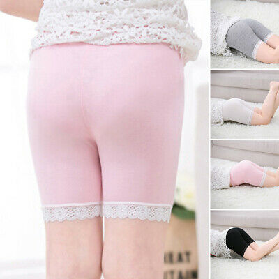 Kids Girls Slim Fit High Rise Safety Shorts Stretchy Solid Lace Leggings Pants