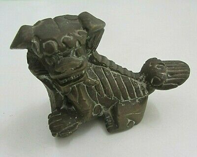 Antique over 100 years old solid Bronze/brass Figure Foo Dog Paper Weight 800g