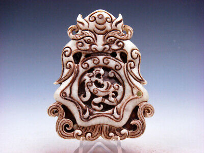 Old Nephrite Jade Carved EXTRA LARGE Pendant Monster Swallowing Dragon #02232002