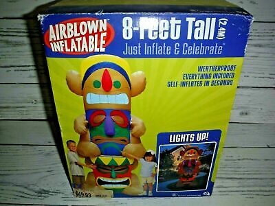 GEMMY Airblown Inflateable 8' Lighted Tiki Totem Pole Yard Decor