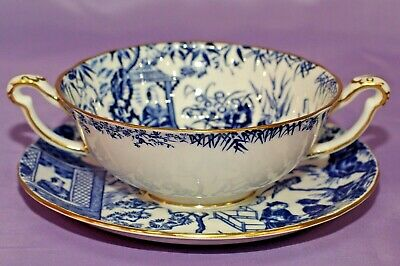 1974 Royal Crown Derby BLUE MIKADO 2 Handled Cream Soup Bowl And & Saucer
