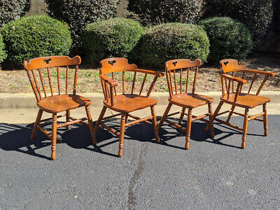 (4) TELL CITY Colonial Style Solid Hard Rock Maple Dining Arm Chair 8008 & 8018