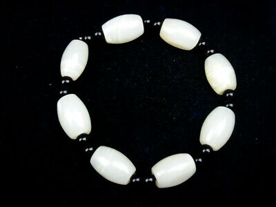 HeTian Jade Crafted 8 Oval Beads Bangle Bracelet w/ Stretch Band #10311902
