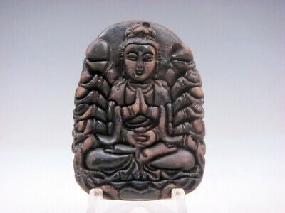 Old Nephrite Jade Hand Carved *Thousand Arms Kwan-Yin Buddha* Pendant #11151811