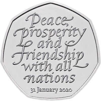 2020 Brexit 50p coin fifty pence cent - from bag - Oxford comma error decimal