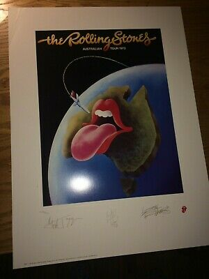 The Rolling Stones Australia 73 print lithograph Numbered Edition Mick Jagger