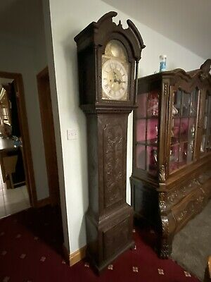 Carved Oak Grandfather Clock 8 Day Brass Dial