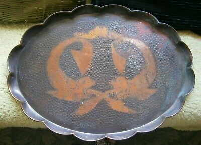 Large Arts & Crafts Copper Tray With Fish Design