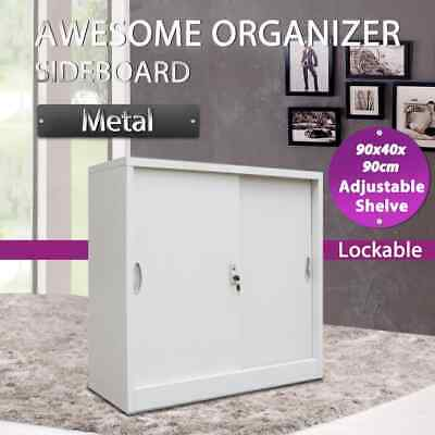 vidaXL Office Cabinet with Sliding Doors Metal Grey Storage Organiser Unit