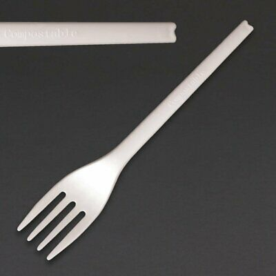 Fiesta Green Compostable CPLA Forks White Pack of 100