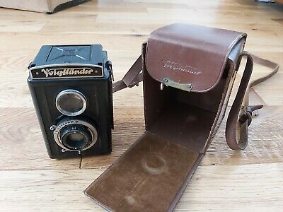 c1933 Voigtlander Brilliant Vintage Camera Lens Compur in original leather case