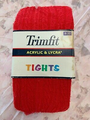 Vintage Knee High Tights Girls Red 80% Orlon Nylon Cable Hippy Size 8-10