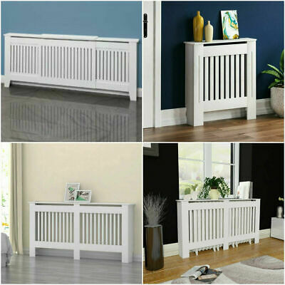 White Wood Radiator Cover Cabinet Modern Slats Traditional Wood Free Standing