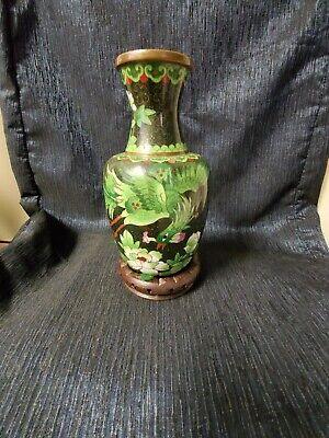 Antique Chinese Cloisonne Enamel On Copper Imperie Oriental Fenghuang Vase