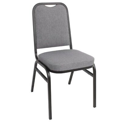 Bolero Steel Banquet Chairs Square Back with Grey Plain Cloth (Pack of 4)