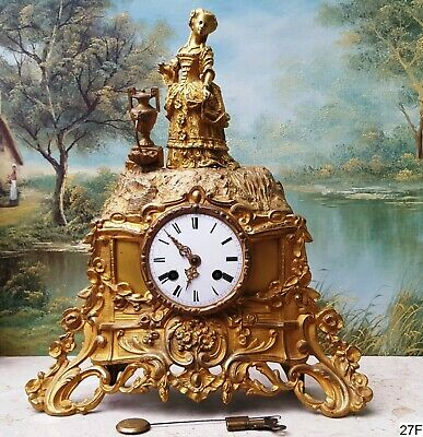 Japy Freres Gilt Bronze mantel Clock 19th
