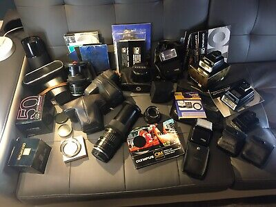 Cameras, Lenses & Accessories Job Lot Flash Boxes Manuals Olympus Contax