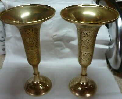 Vintage Pair Large Solid Brass Vase/Candle Holder Engraved Pattern And Colour