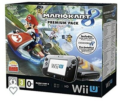 Nintendo Wii U Console 32gb Pre-installed Mario Kart 8, Original Box