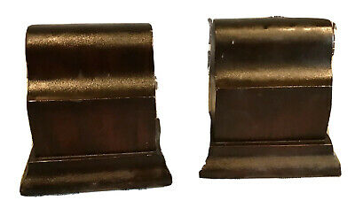 Pair Vintage Antique Heavy Carved Natural Wood Classic Bookstands Holders Old