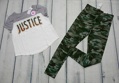 Justice Girls Size 12 Camo Matching Top And Leggings New With Tags