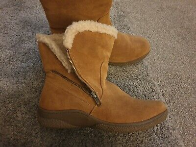 Ladies Brown Ankle Boots Cotton Traders Size 4 VGC
