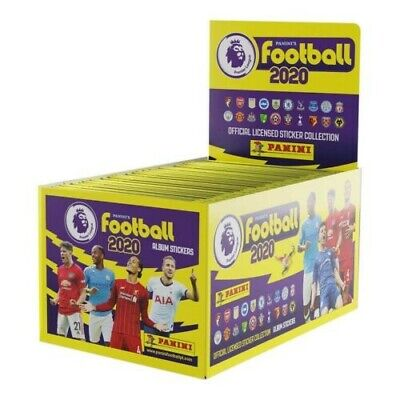 Full box of Panini FOOTBALL 2020 Premier League Stickers, 100 Packs.Unopened Box