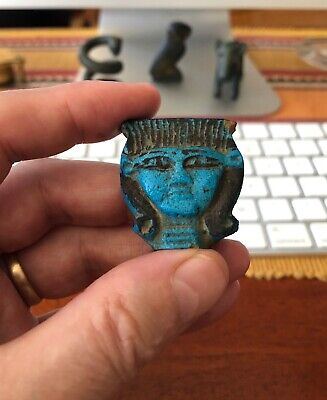 Ancient Egyptian Dark Blue Faience Head of Hathor Pendant Piece