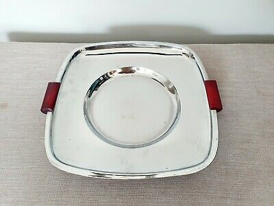 Original Vintage Art Deco Chrome Tray - Serving Tray Platter Red Bakelite 1930s