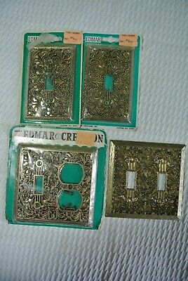 Vtg Edmar Ornate Brass Victorian Art Nouveau Light Switch Outlet Covers NIP