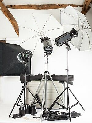 Bowens Traveller.  3 Head Pro Studio Flash System + Stands, Cases, Softbox Etc.