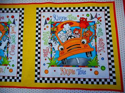 By 1//2 Yard Henry Glass Fabric Rhyme Time Border Stripe ~ Children/'s Bus Boat